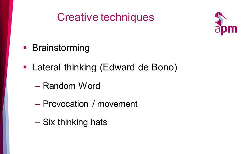 Creative techniques  Brainstorming  Lateral thinking (Edward de Bono) –Random Word –Provocation / movement –Six thinking hats