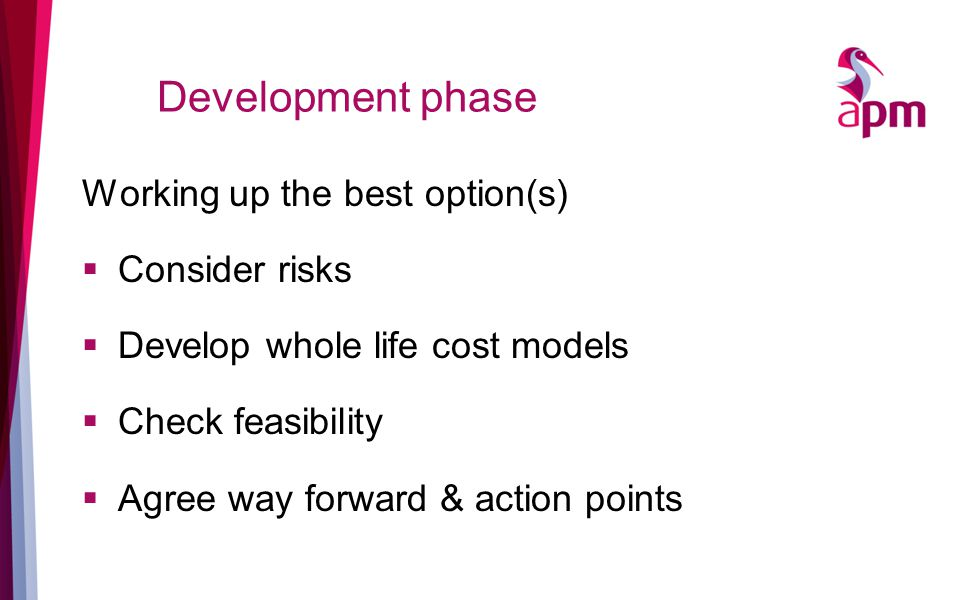 Development phase Working up the best option(s)  Consider risks  Develop whole life cost models  Check feasibility  Agree way forward & action points