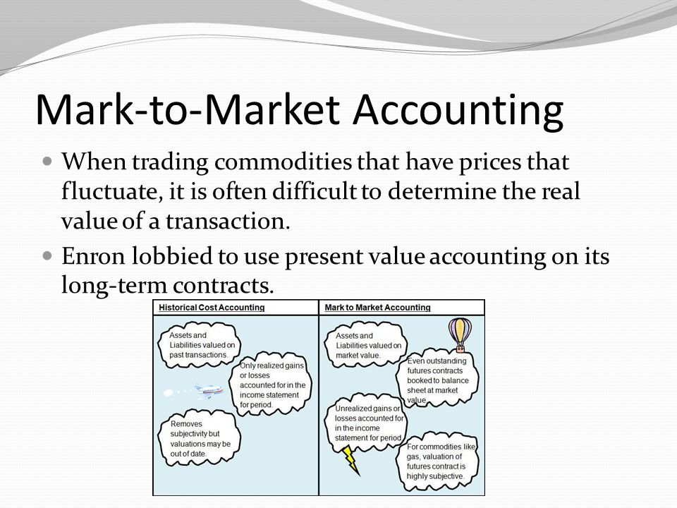 Mark-to-Market Accounting When trading commodities that have prices that fluctuate, it is often difficult to determine the real value of a transaction
