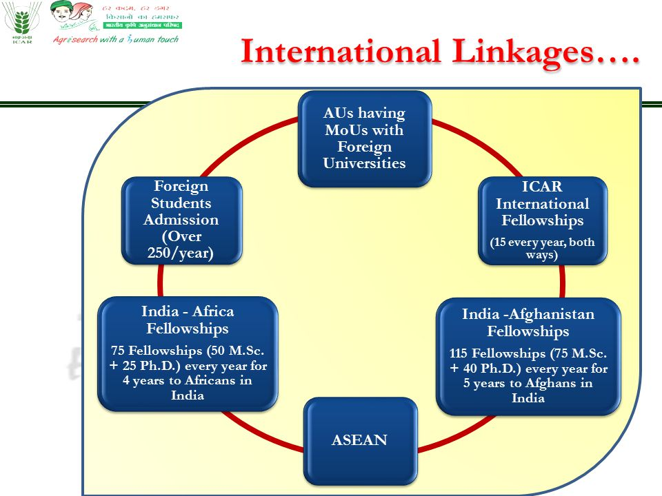 AUs having MoUs with Foreign Universities ICAR International Fellowships (15 every year, both ways) ASEAN India -Afghanistan Fellowships 115 Fellowshi