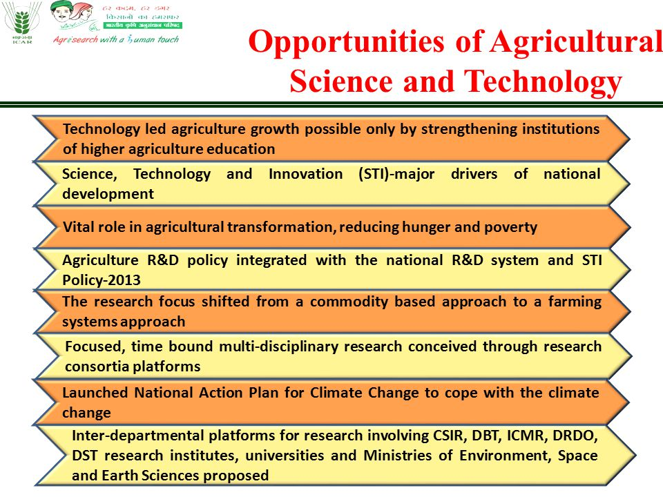 Opportunities of Agricultural Science and Technology Technology led agriculture growth possible only by strengthening institutions of higher agricultu