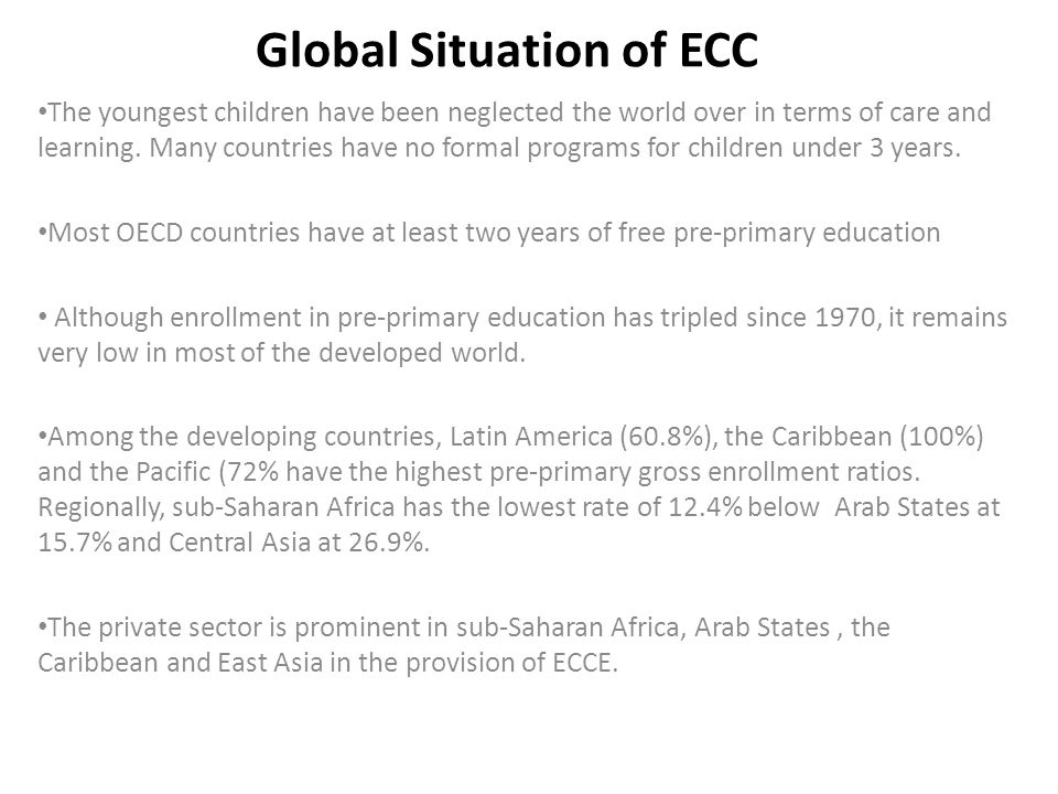 Global Situation of ECC -cont There are large disparities within countries.