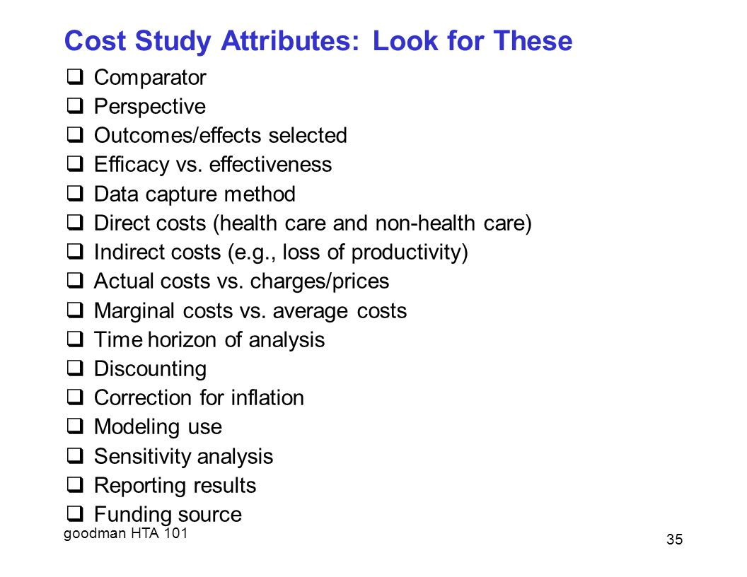 goodman HTA 101 Cost Study Attributes: Look for These  Comparator  Perspective  Outcomes/effects selected  Efficacy vs.