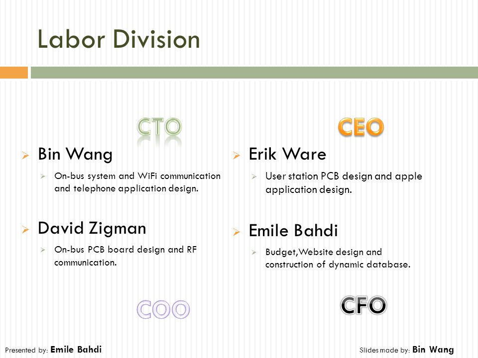 Labor Division  Bin Wang  On-bus system and WiFi communication and telephone application design.  David Zigman  On-bus PCB board design and RF com