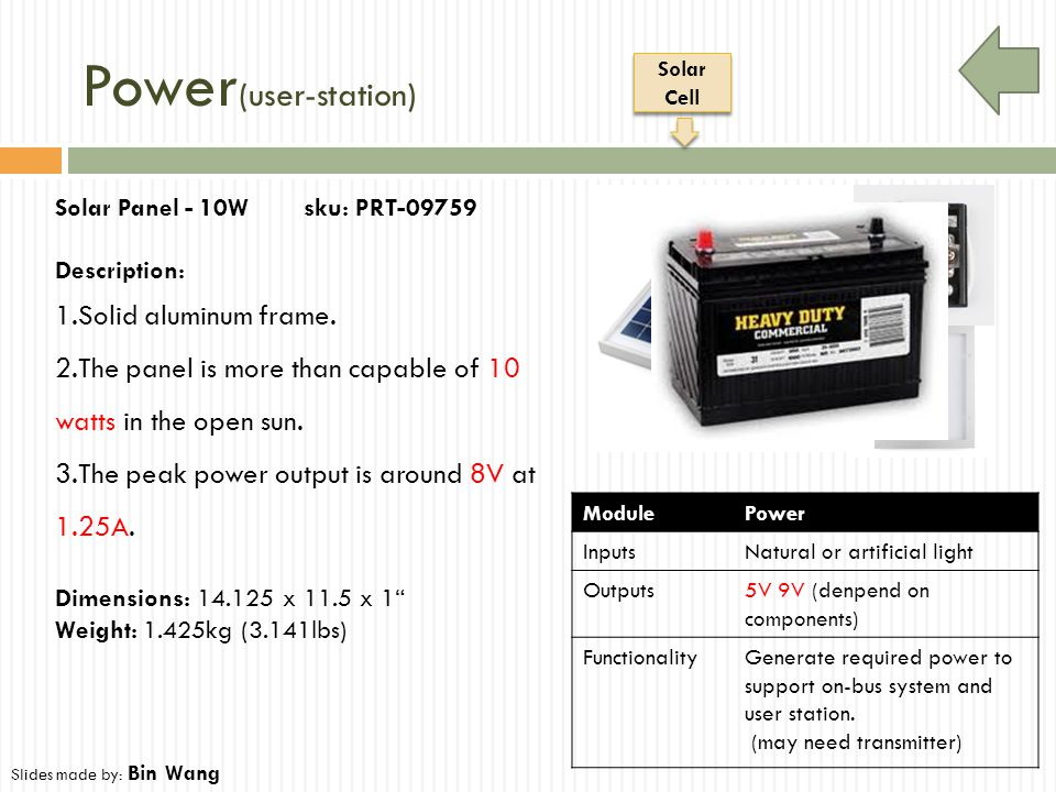 Power (user-station) ModulePower InputsNatural or artificial light Outputs5V 9V (denpend on components) FunctionalityGenerate required power to suppor
