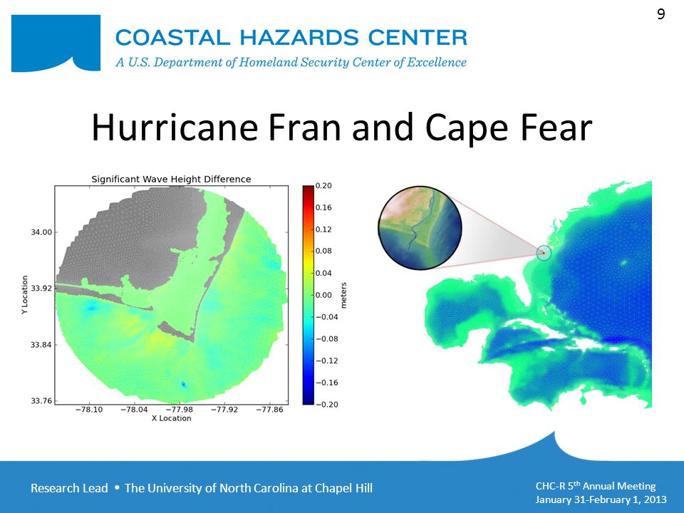 Research Lead  The University of North Carolina at Chapel Hill CHC-R 5 th Annual Meeting January 31-February 1, 2013 10 Hurricane Fran and Cape Fear TPAR Files2D Spectra Files ParameterThresholdNodes% % Significant Wave Height5 cm707724.7250.087 Wave Period1 sec714324.9530.185 Peak Direction20⁰12974.532180.761 Conclusion: Using 2D spectra files to enforce the boundaries of a subdomain results in accurate and efficient computational modeling for engineering purposes.