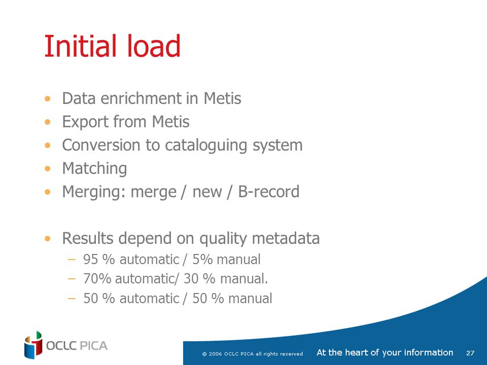 27 Initial load Data enrichment in Metis Export from Metis Conversion to cataloguing system Matching Merging: merge / new / B-record Results depend on quality metadata –95 % automatic / 5% manual –70% automatic/ 30 % manual.
