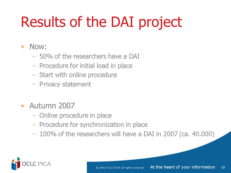 32 Results of the DAI project Now: –50% of the researchers have a DAI –Procedure for initial load in place –Start with online procedure –Privacy statement Autumn 2007 –Online procedure in place –Procedure for synchronization in place –100% of the researchers will have a DAI in 2007 (ca.