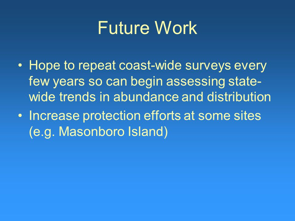 Future Work Hope to repeat coast-wide surveys every few years so can begin assessing state- wide trends in abundance and distribution Increase protect