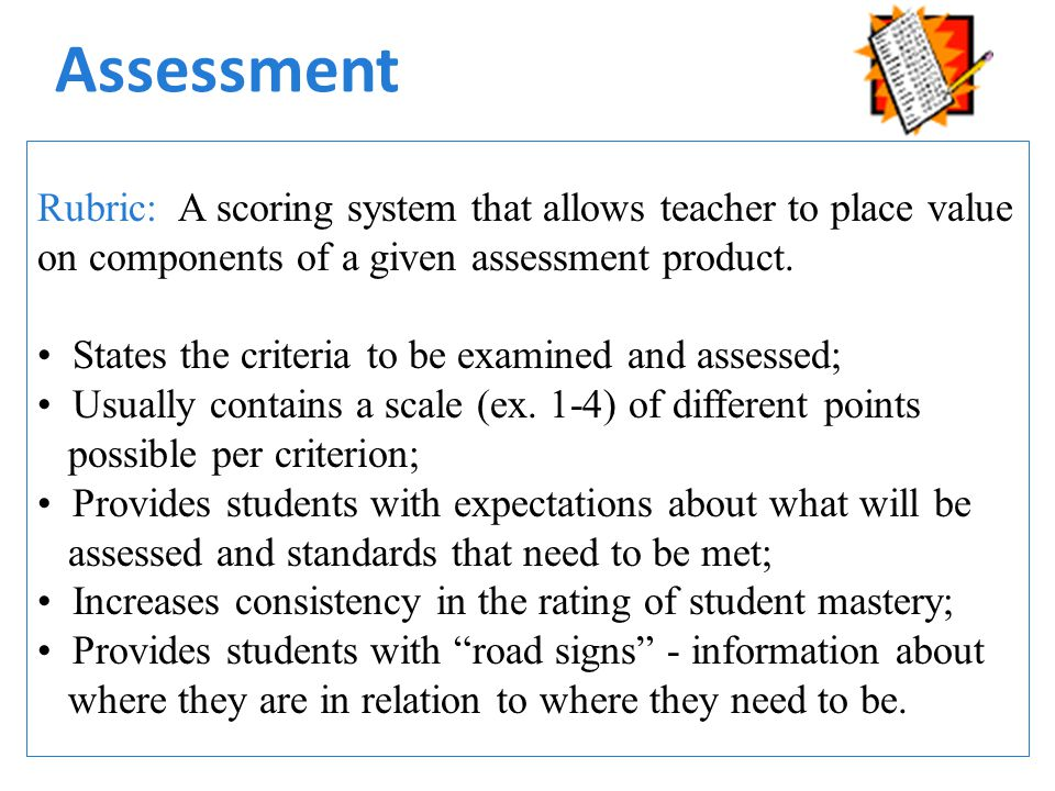 Assessment Rubric: A scoring system that allows teacher to place value on components of a given assessment product.