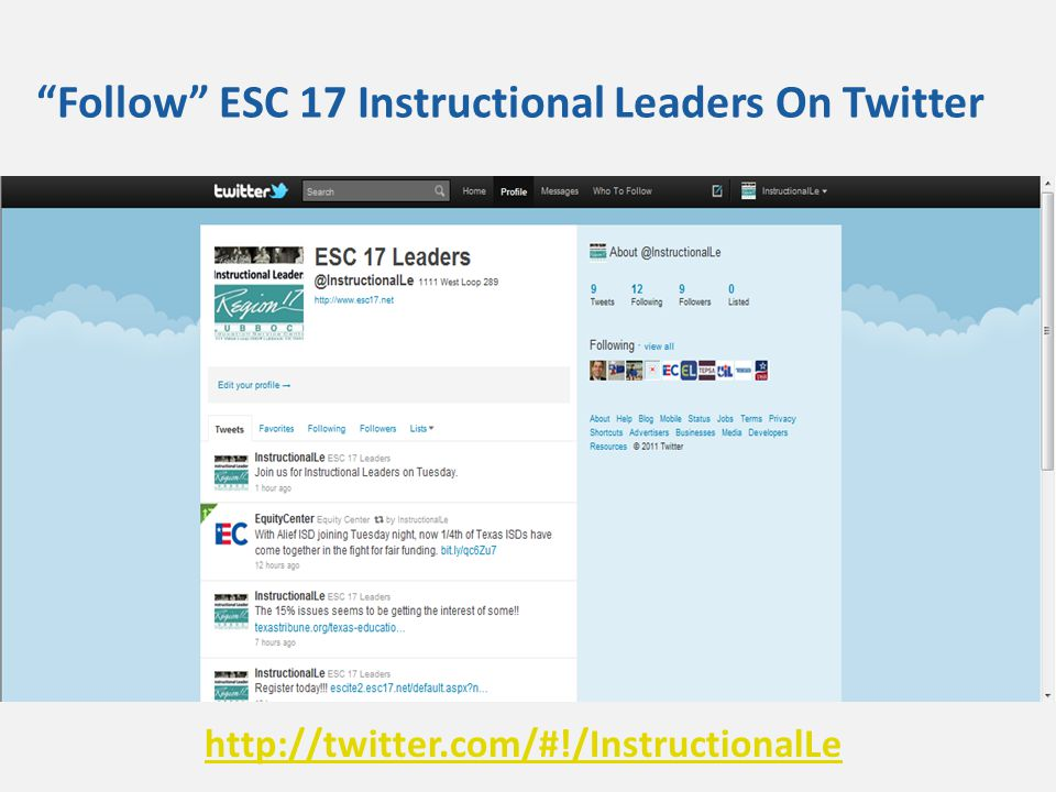 Follow ESC 17 Instructional Leaders On Twitter http://twitter.com/#!/InstructionalLe
