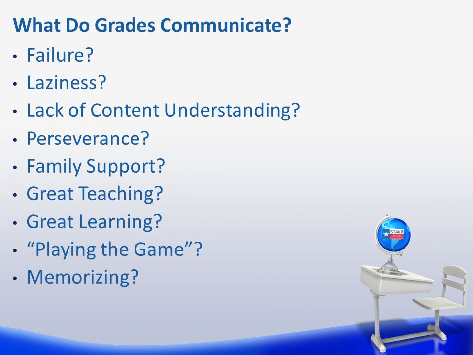 What Do Grades Communicate. Failure. Laziness. Lack of Content Understanding.