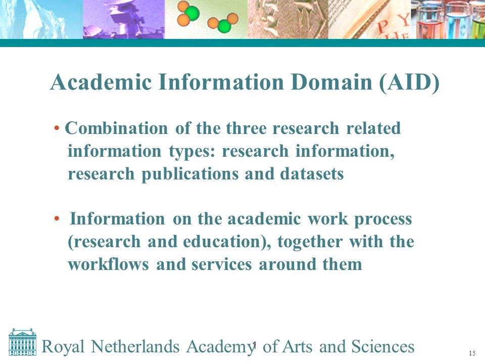 Royal Netherlands Academy of Arts and Sciences 1 Academic Information Domain (AID) Combination of the three research related information types: research information, research publications and datasets Information on the academic work process (research and education), together with the workflows and services around them 15