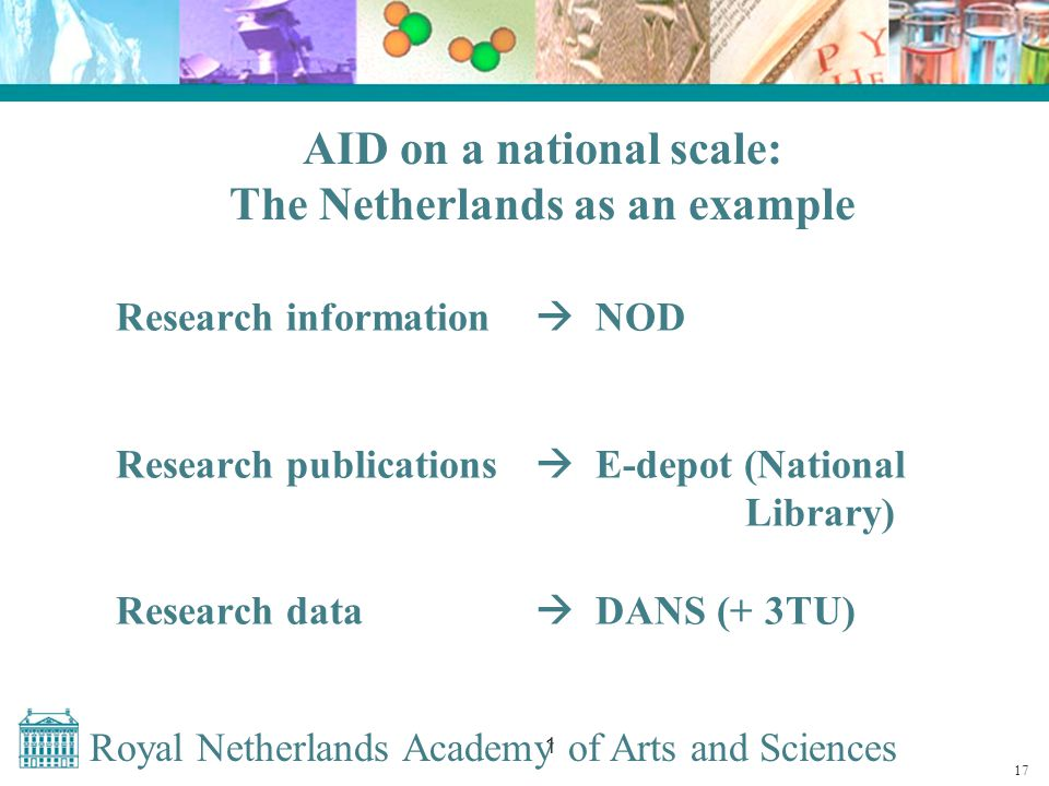 Royal Netherlands Academy of Arts and Sciences 1 AID on a national scale: The Netherlands as an example Research information  NOD Research publications  E-depot (National Library) Research data  DANS (+ 3TU) 17