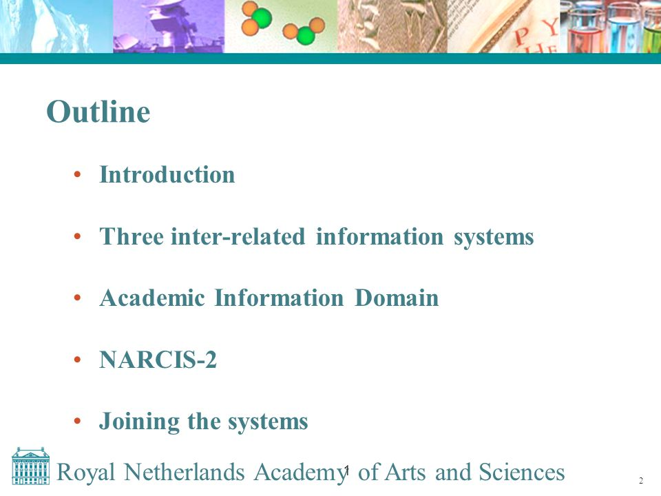 Royal Netherlands Academy of Arts and Sciences 1 Implementing DAI in The Netherlands Co-operation of all Dutch universities, KNAW and NWO Creating a thesaurus of author names with corresponding DAI within the OCLC-PICA system Matching DAI and author names in all three research related information systems (NOD; DANS; DAREnet/ E-depot) DAI available spring 2008 23