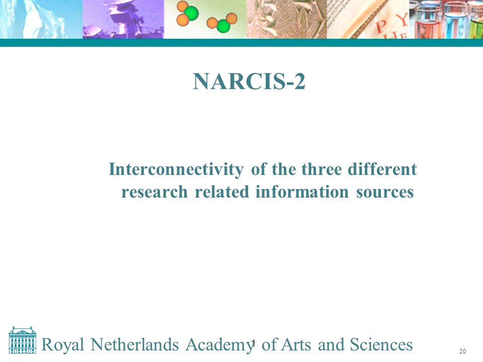 Royal Netherlands Academy of Arts and Sciences 1 NARCIS-2 Interconnectivity of the three different research related information sources 20