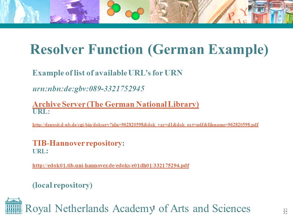 Royal Netherlands Academy of Arts and Sciences 1 32 Resolver Function (German Example) Example of list of available URL's for URN urn:nbn:de:gbv:089-3321752945 Archive Server (The German National Library) URL: http://deposit.d-nb.de/cgi-bin/dokserv idn=962820598&dok_var=d1&dok_ext=pdf&filename=962820598.pdf TIB-Hannover repository: URL : http://edok01.tib.uni-hannover.de/edoks/e01dh01/332175294.pdf (local repository) 32