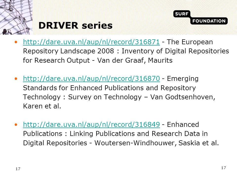 17 DRIVER series http://dare.uva.nl/aup/nl/record/316871 - The European Repository Landscape 2008 : Inventory of Digital Repositories for Research Out