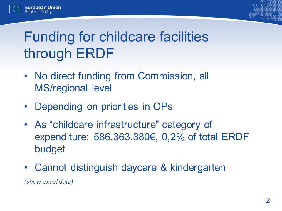 "2 Funding for childcare facilities through ERDF No direct funding from Commission, all MS/regional level Depending on priorities in OPs As ""childcare"