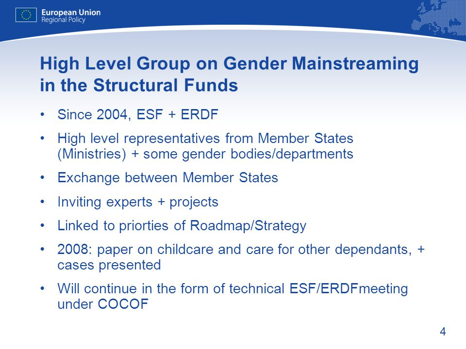 4 High Level Group on Gender Mainstreaming in the Structural Funds Since 2004, ESF + ERDF High level representatives from Member States (Ministries) +