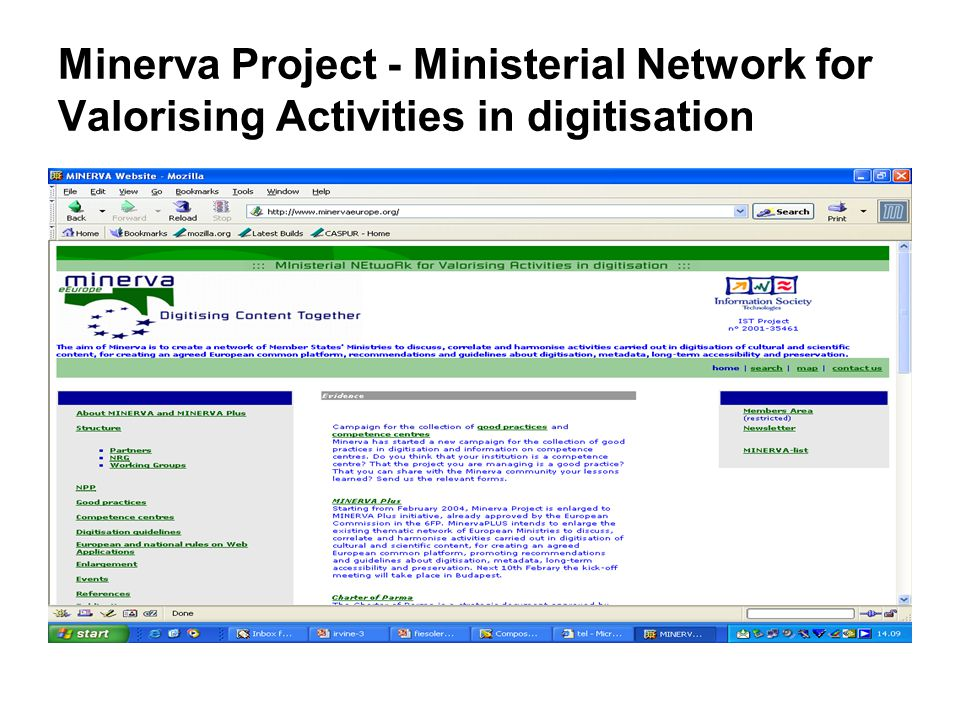 Minerva Project - Ministerial Network for Valorising Activities in digitisation