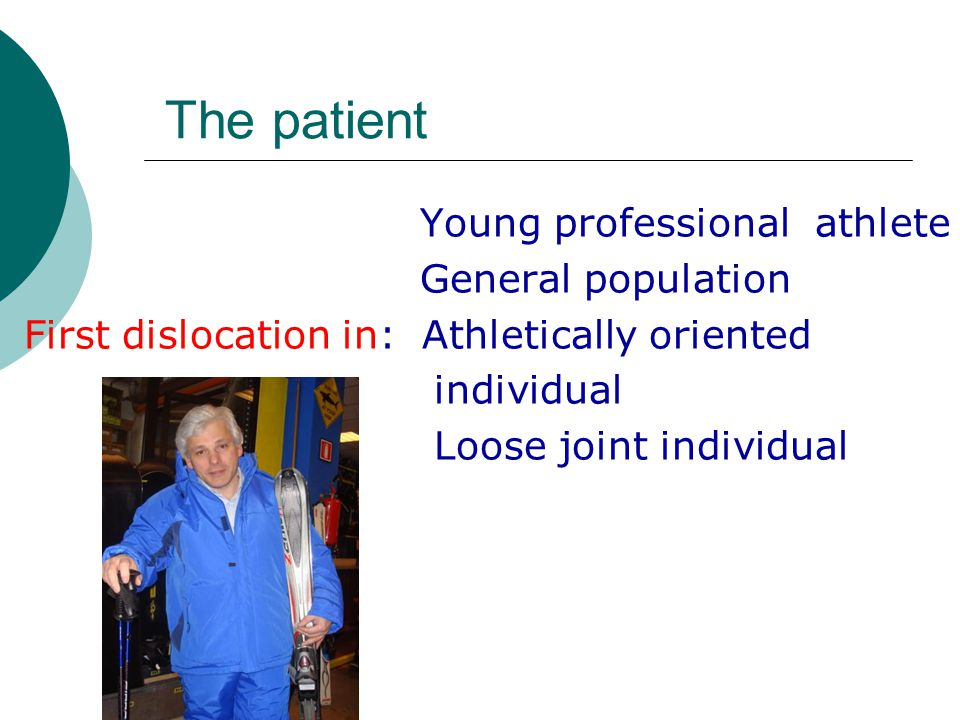 The patient Young professional athlete General population First dislocation in: Athletically oriented individual Loose joint individual