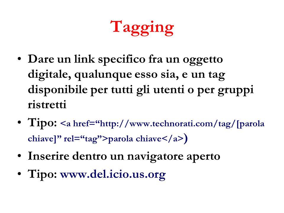 Tagging Dare un link specifico fra un oggetto digitale, qualunque esso sia, e un tag disponibile per tutti gli utenti o per gruppi ristretti Tipo: parola chiave ) Inserire dentro un navigatore aperto Tipo: www.del.icio.us.org