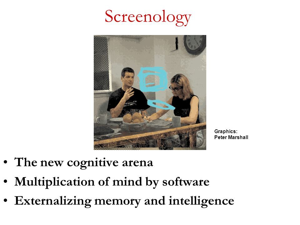 Screenology The new cognitive arena Multiplication of mind by software Externalizing memory and intelligence Graphics: Peter Marshall