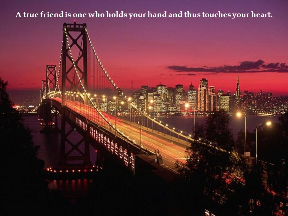 A true friend is one who holds your hand and thus touches your heart.