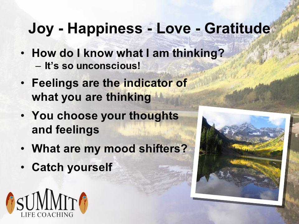 Joy - Happiness - Love - Gratitude How do I know what I am thinking.