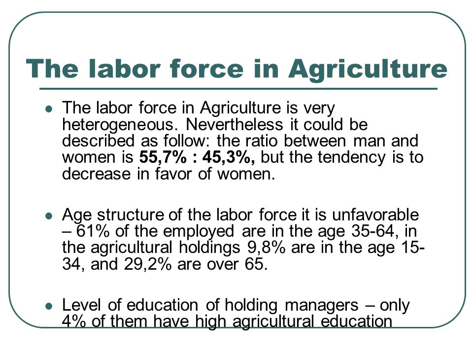 Тhe labor force in Agriculture Тhe labor force in Agriculture is very heterogeneous.