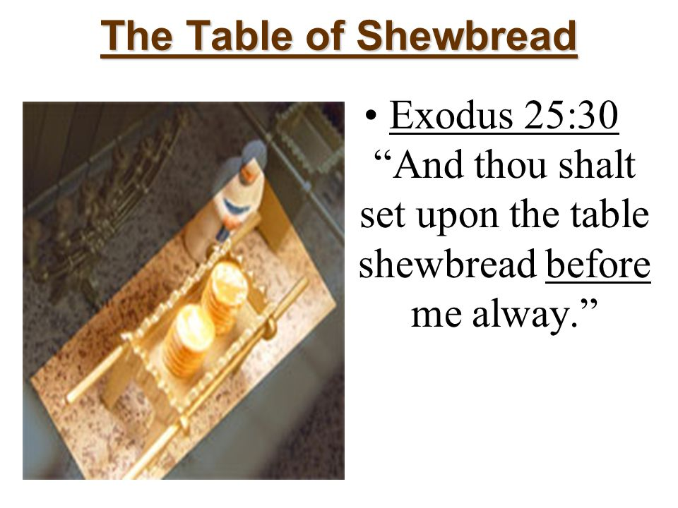 The Table of Shewbread Exodus 25:30 And thou shalt set upon the table shewbread before me alway.