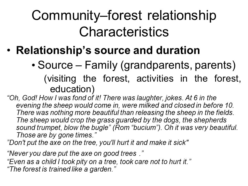 Community–forest relationship Characteristics Relationship's source and duration Source – Family (grandparents, parents) (visiting the forest, activit