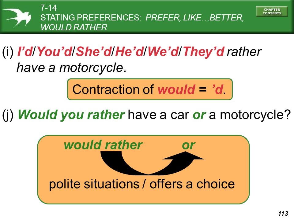 113 Contraction of would = l 'd. (i) I'd/You'd/She'd/He'd/We'd/They'd rather have a motorcycle. (j) Would you rather have a car or a motorcycle? would