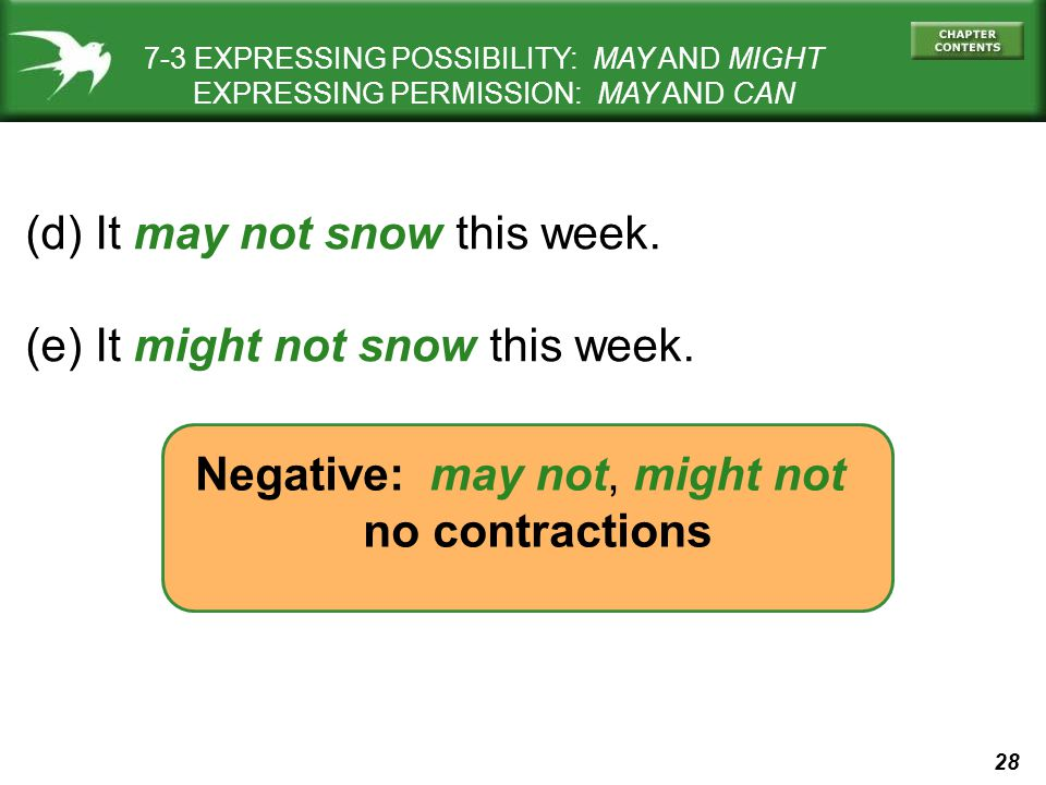 28 7-3 EXPRESSING POSSIBILITY: MAY AND MIGHT EXPRESSING PERMISSION: MAY AND CAN (d) It may not snow this week. (e) It might not snow this week. Negati