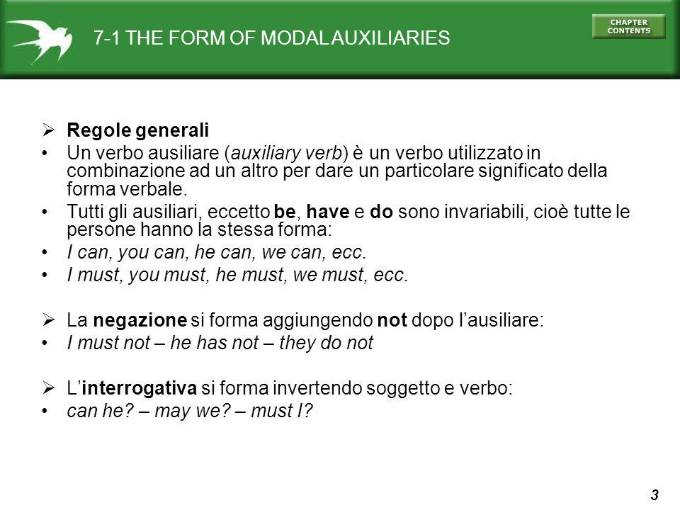 3 7-1 THE FORM OF MODAL AUXILIARIES  Regole generali Un verbo ausiliare (auxiliary verb) è un verbo utilizzato in combinazione ad un altro per dare un particolare significato della forma verbale.