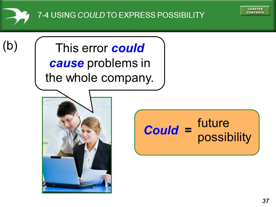 37 7-4 USING COULD TO EXPRESS POSSIBILITY This error could cause problems in the whole company. (b) Could = future possibility