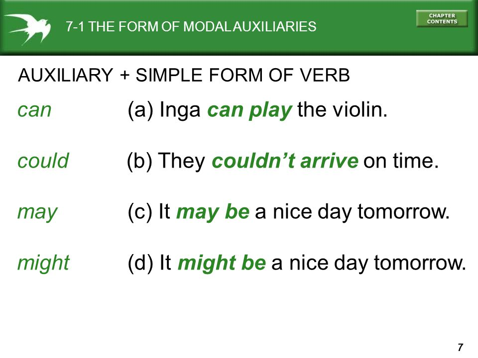7 7-1 THE FORM OF MODAL AUXILIARIES AUXILIARY + SIMPLE FORM OF VERB can (a) Inga can play the violin. could (b) They couldn't arrive on time. may (c)