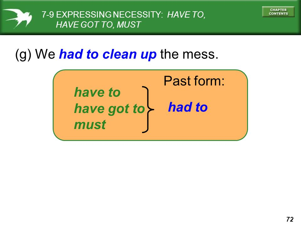 72 (g) We had to clean up the mess. have to have got to must Past form: had to 7-9 EXPRESSING NECESSITY: HAVE TO, HAVE GOT TO, MUST