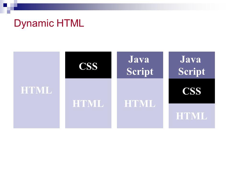 Dynamic HTML HTML CSS Java Script HTML CSS Java Script