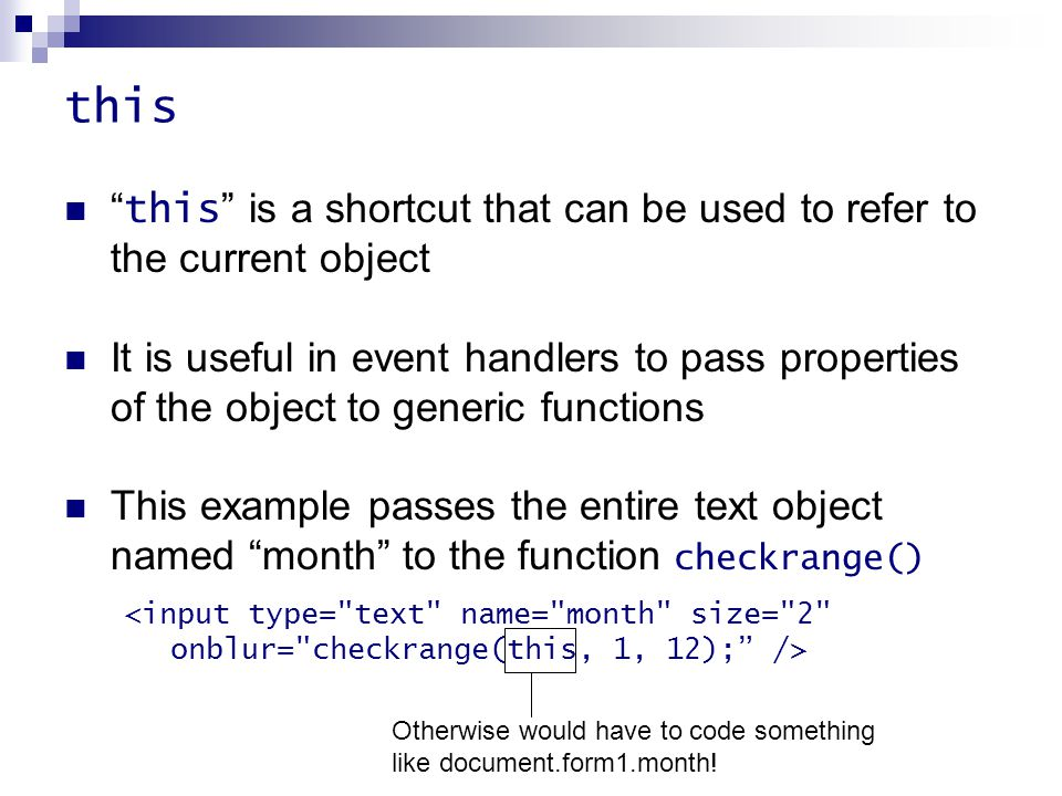 """this """" this """" is a shortcut that can be used to refer to the current object It is useful in event handlers to pass properties of the object to generic"""
