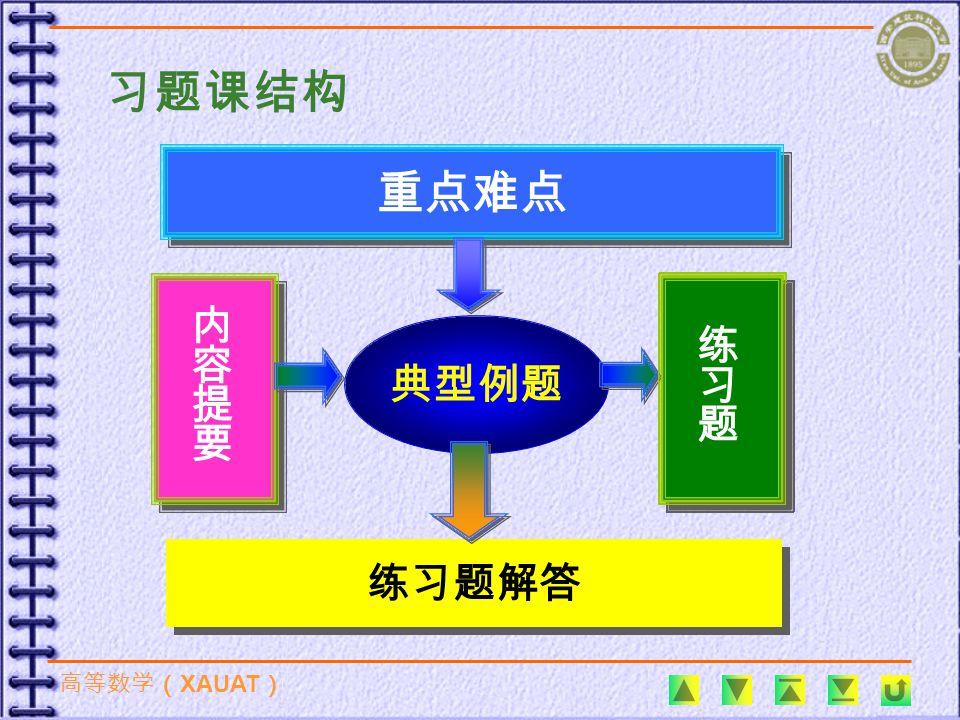 高等数学( XAUAT ) 典型例题 重点难点 练习题解答 习题课结构