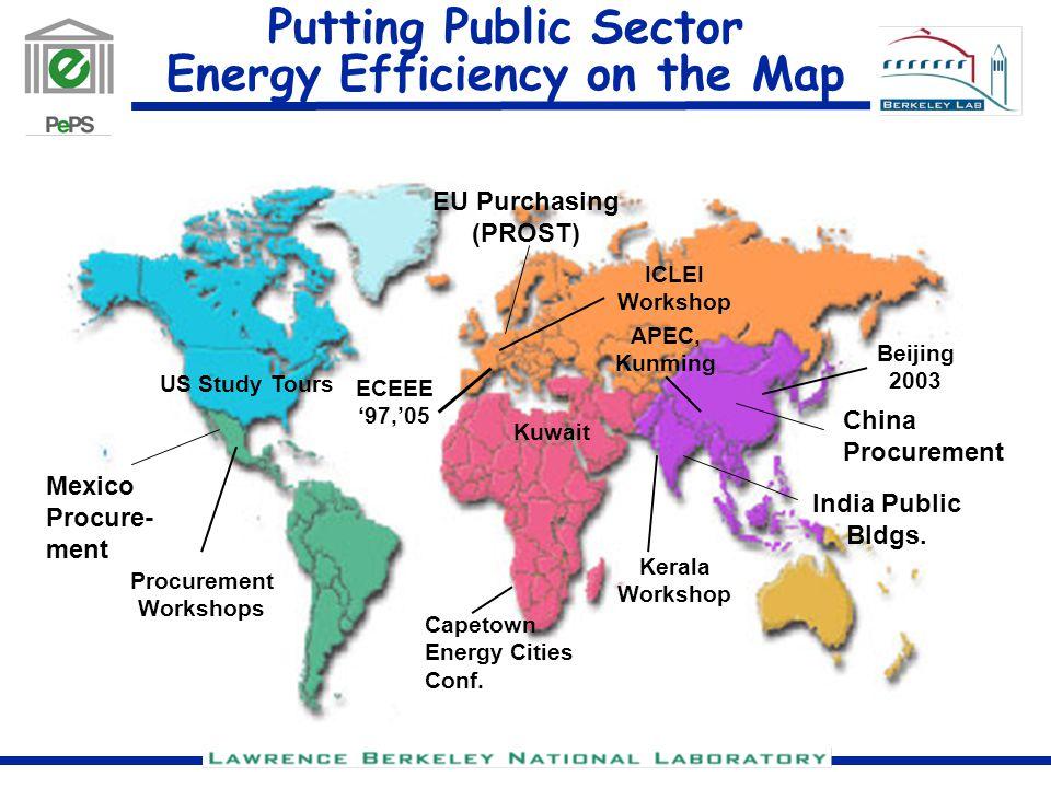 Putting Public Sector Energy Efficiency on the Map Kuwait Mexico Procure- ment China Procurement EU Purchasing (PROST) US Study Tours Capetown Energy Cities Conf.