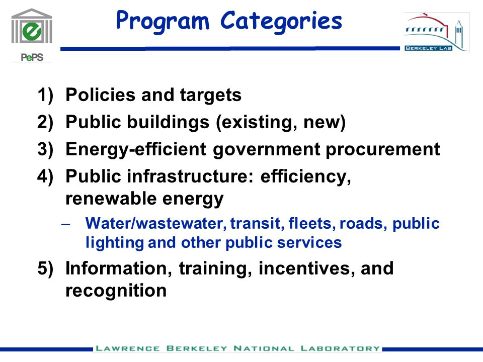 Program Categories 1)Policies and targets 2)Public buildings (existing, new) 3)Energy-efficient government procurement 4)Public infrastructure: efficiency, renewable energy –Water/wastewater, transit, fleets, roads, public lighting and other public services 5)Information, training, incentives, and recognition