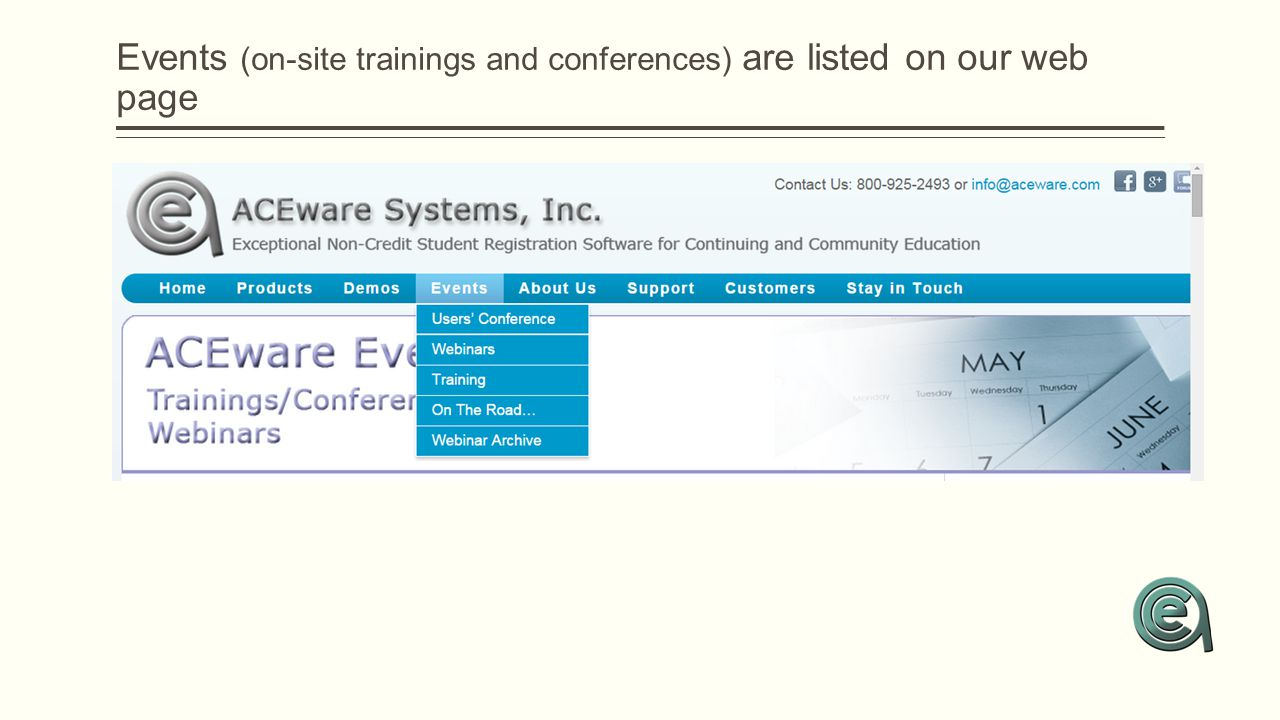 Events (on-site trainings and conferences) are listed on our web page