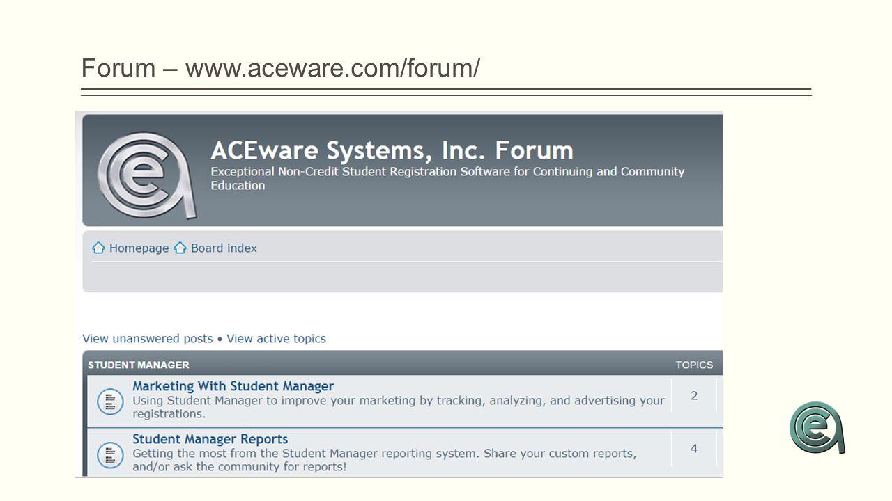 Forum – www.aceware.com/forum/