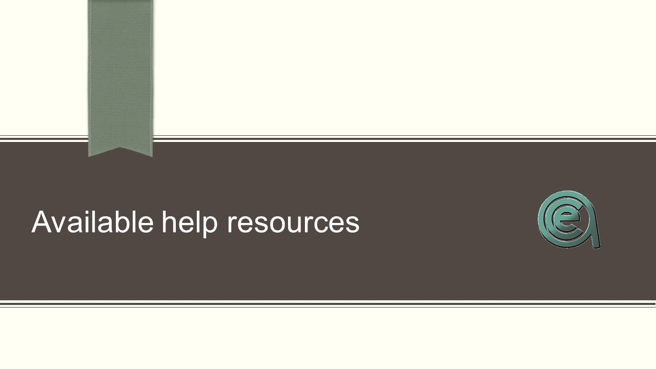 Available help resources