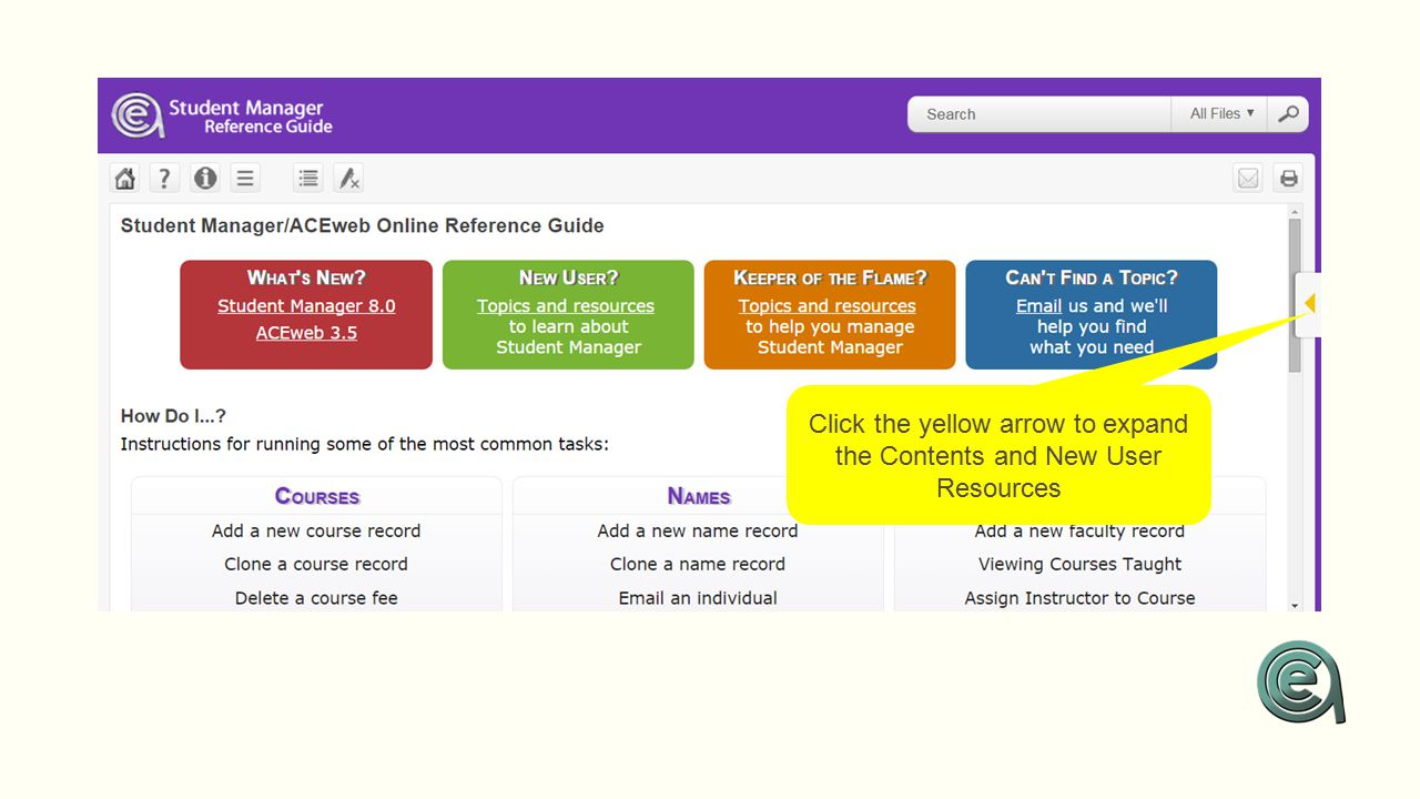 Click the yellow arrow to expand the Contents and New User Resources