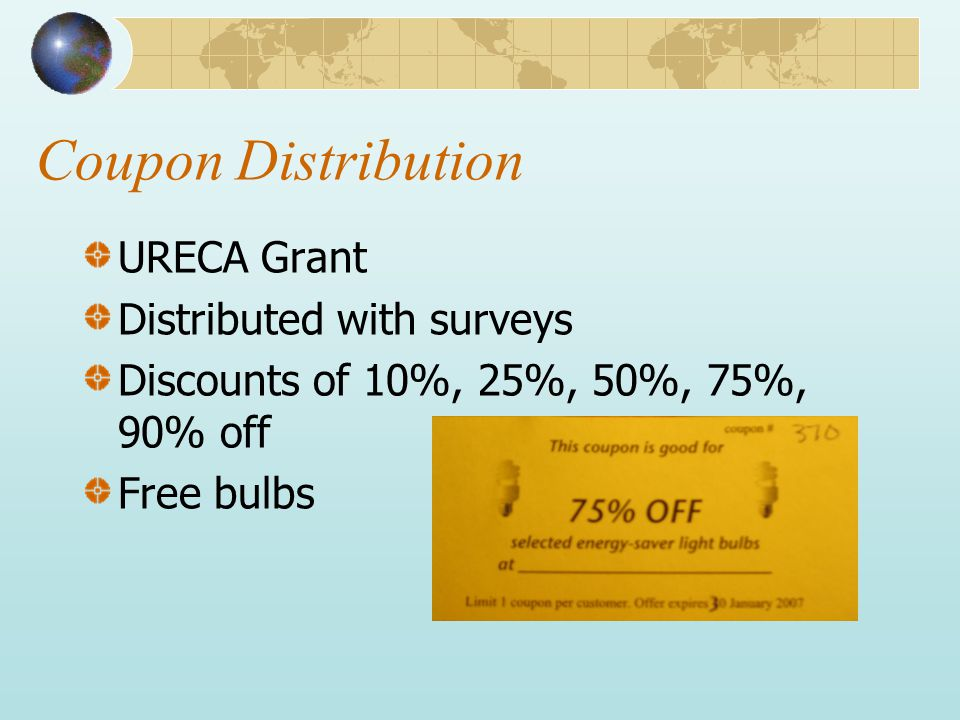 Coupon Distribution URECA Grant Distributed with surveys Discounts of 10%, 25%, 50%, 75%, 90% off Free bulbs