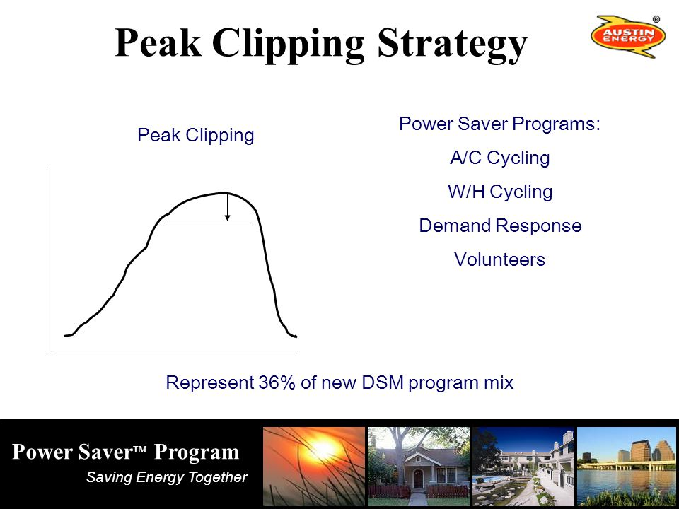 Saving Energy Together Power Saver TM Program Peak Clipping Power Saver Programs: A/C Cycling W/H Cycling Demand Response Volunteers Peak Clipping Strategy Represent 36% of new DSM program mix